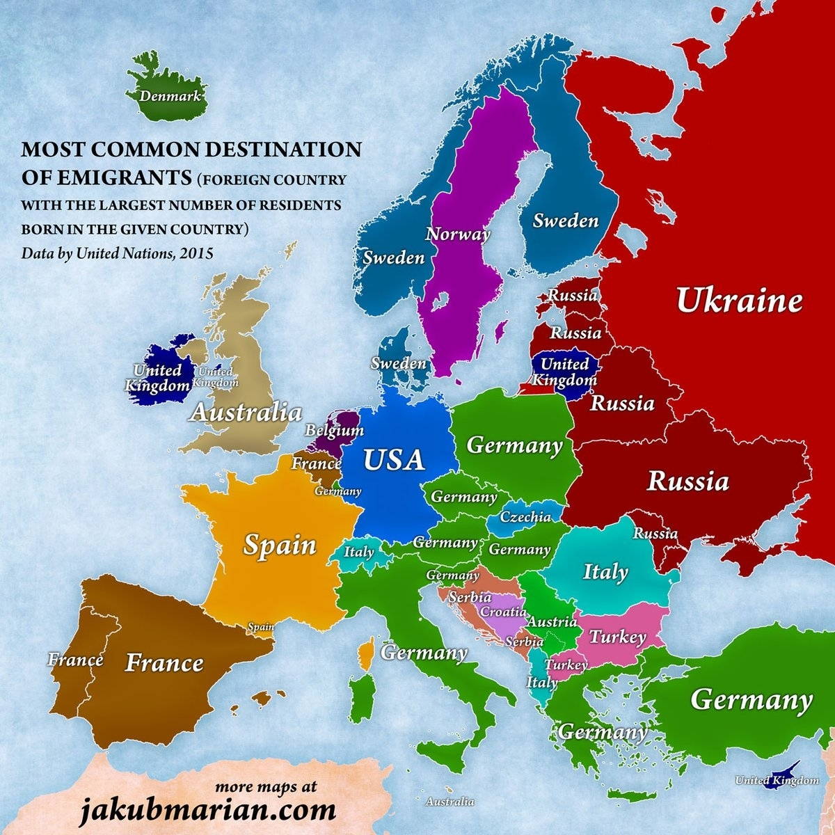 Most Popular Destination Of European Emigrants – Moverdb in Map Of Spain France And Germany