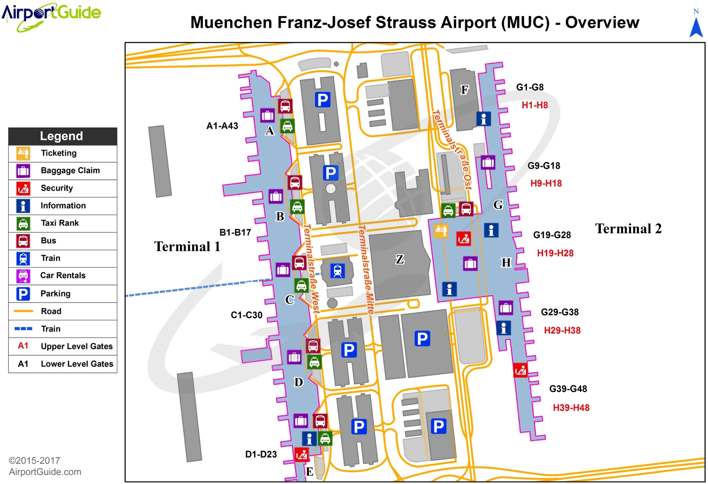 Munich - Munich International (Muc) Airport Terminal Map - Overview pertaining to International Airports In Germany Map