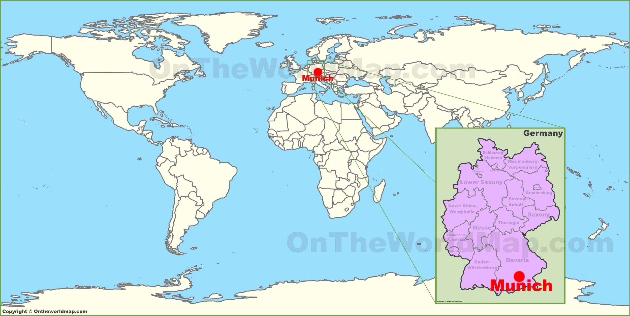 Munich On The World Map Germany 6 - World Wide Maps within World Map With Germany Highlighted