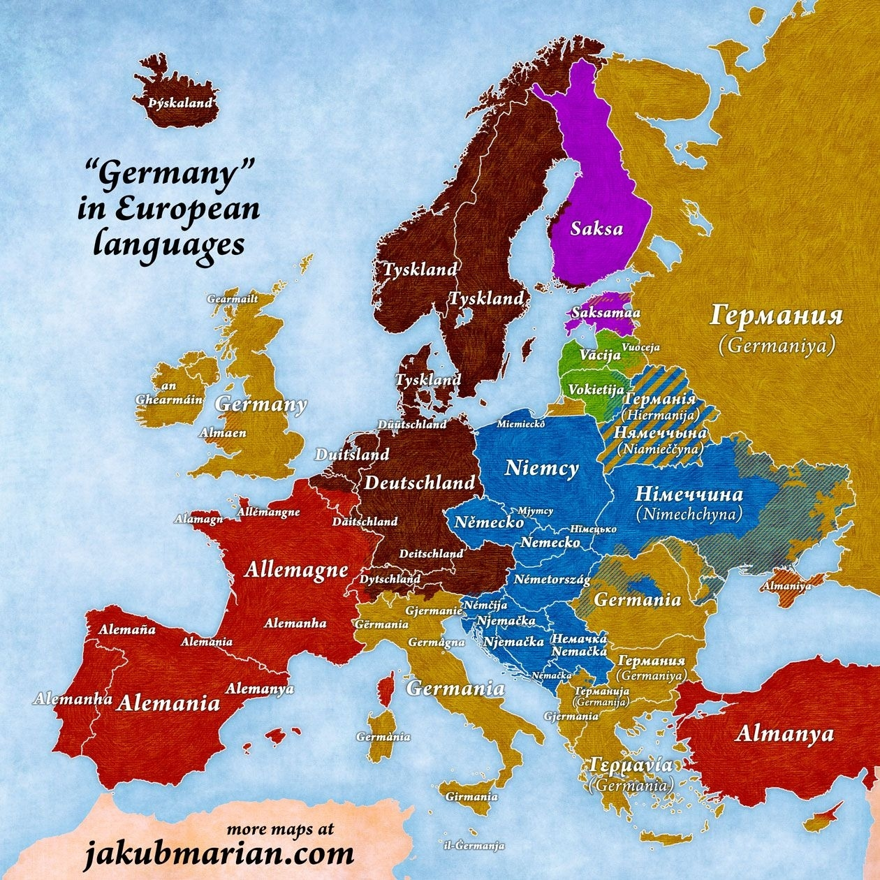 Names Of Germany In European Languages   Maps   European Languages intended for Map Of Europe In German Language