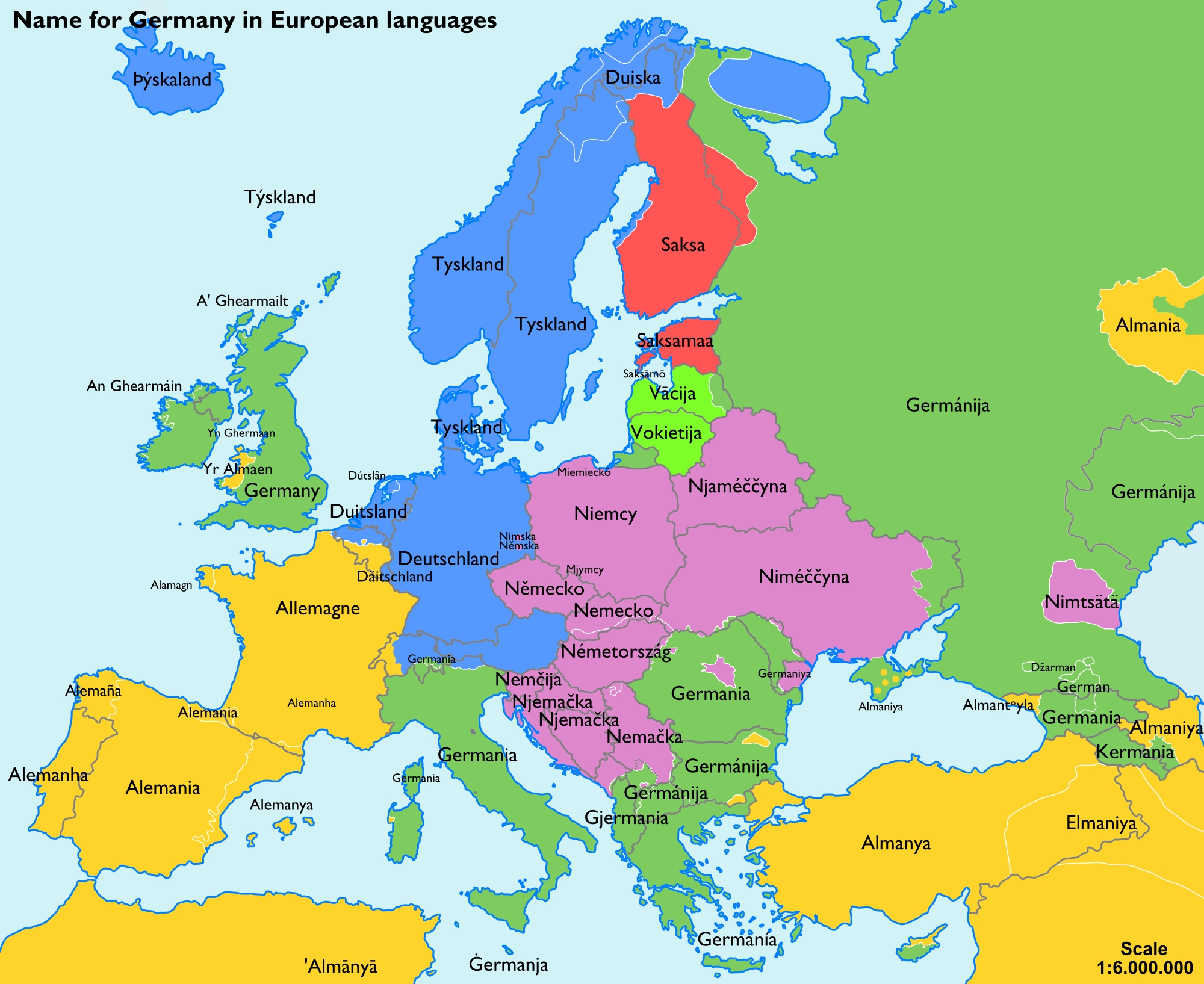 Names Of Germany - Wikipedia within Map Of Europe In German Language