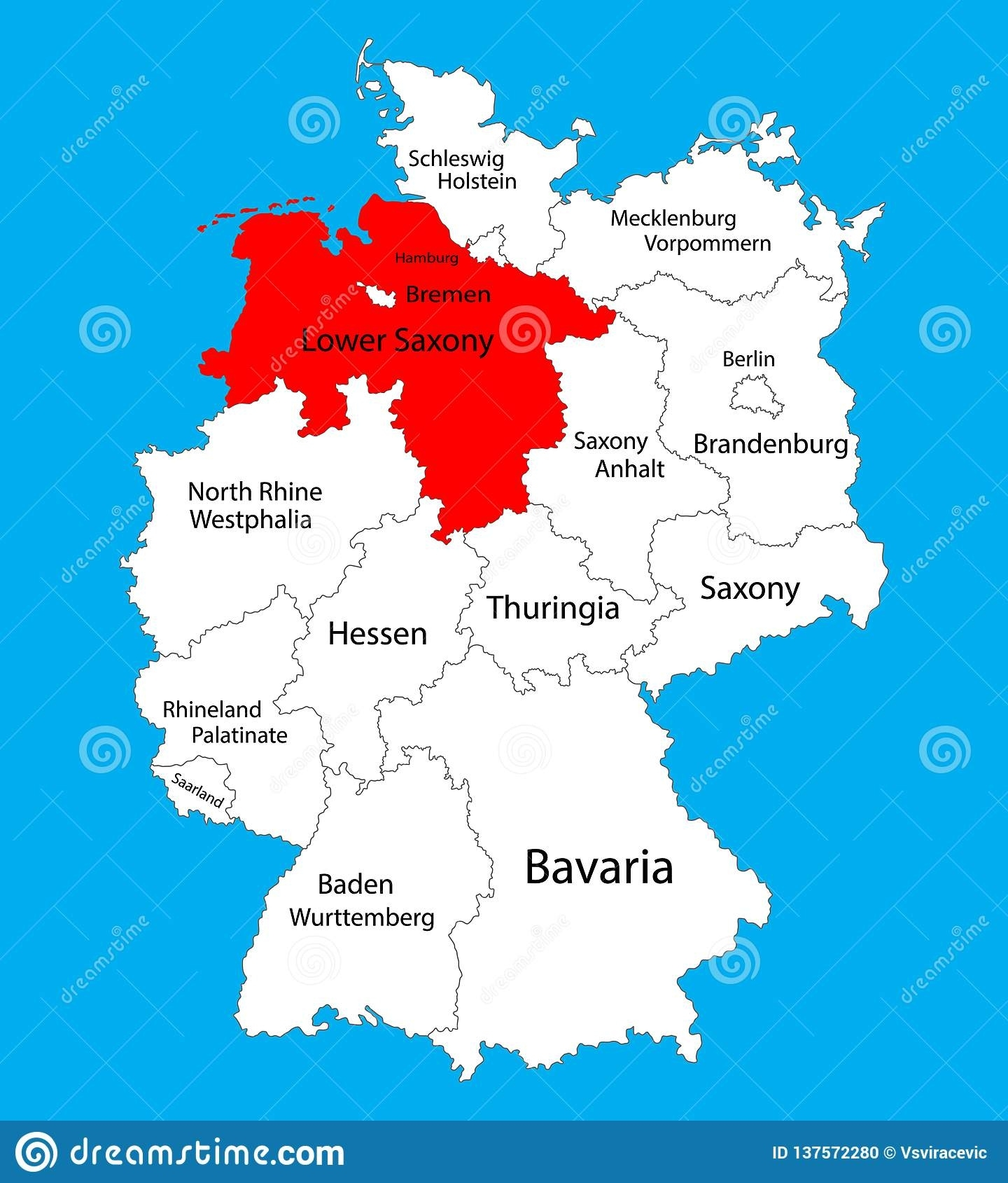 Niedersachsen, Lower Saxony State Map, Germany, Vector Map inside Hannover Germany Map