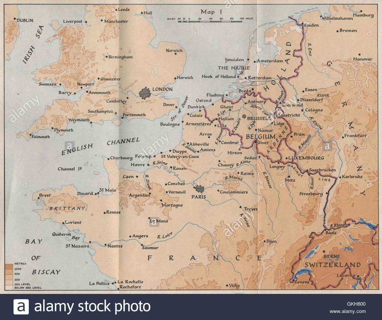 North West Europe In 1940. France Belgium Holland Germany. Hmso with regard to Map Of France Belgium And Germany