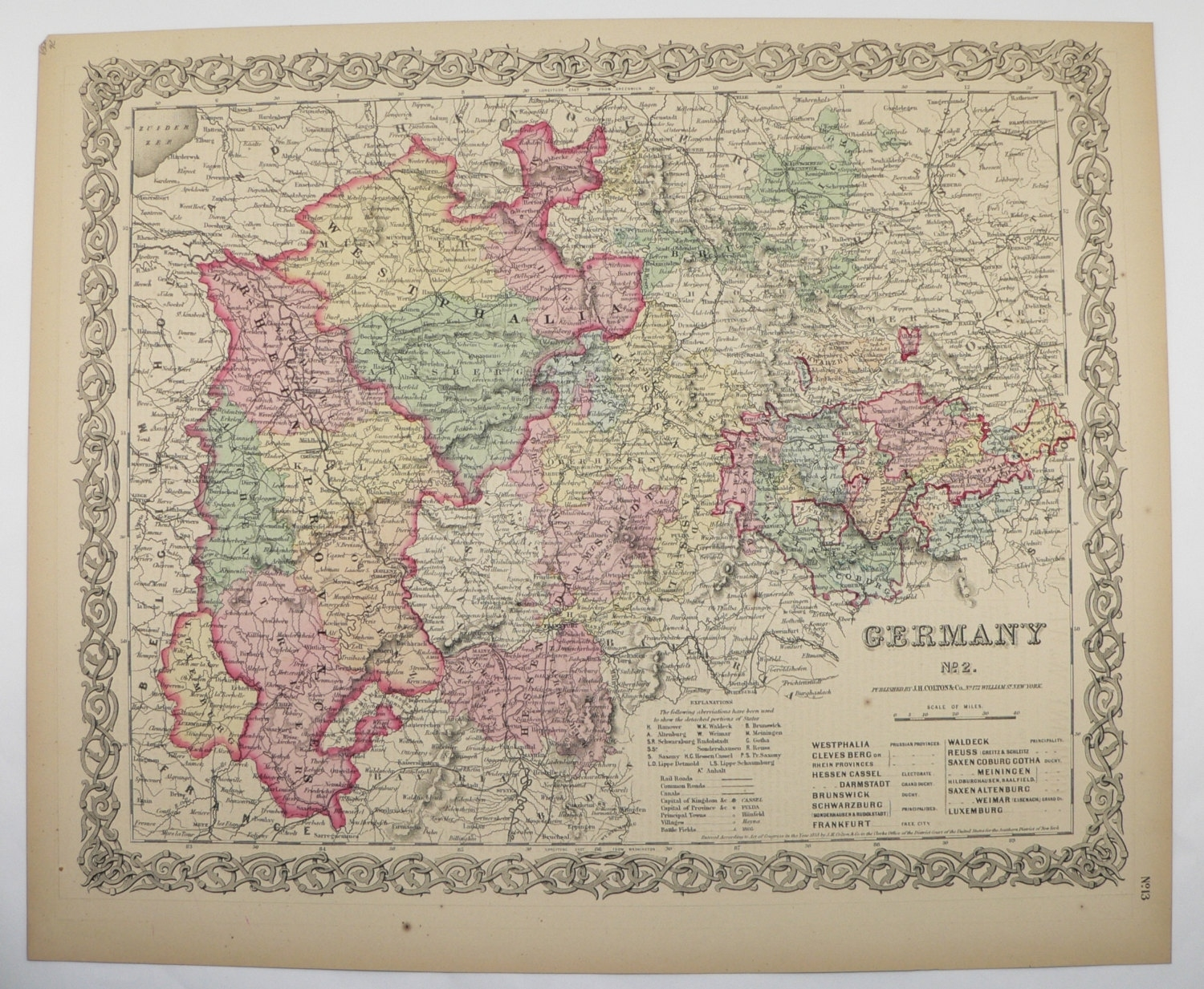 Nw Germany Map Original 1859 Colton Map, Old World Map, Historical Map,  Germany Wedding Gift For Couple, Antique Map, Vintage German Decor pertaining to Old World Map Of Germany