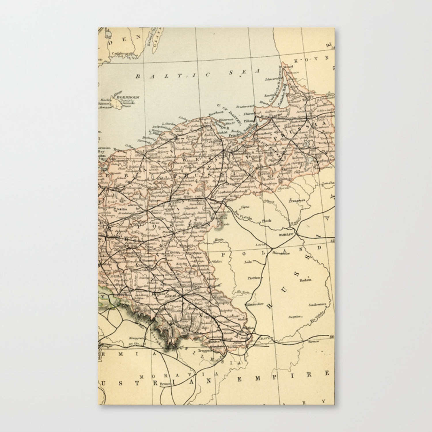 Old Map Of Germany Canvas Print intended for Map Of Germany To Print