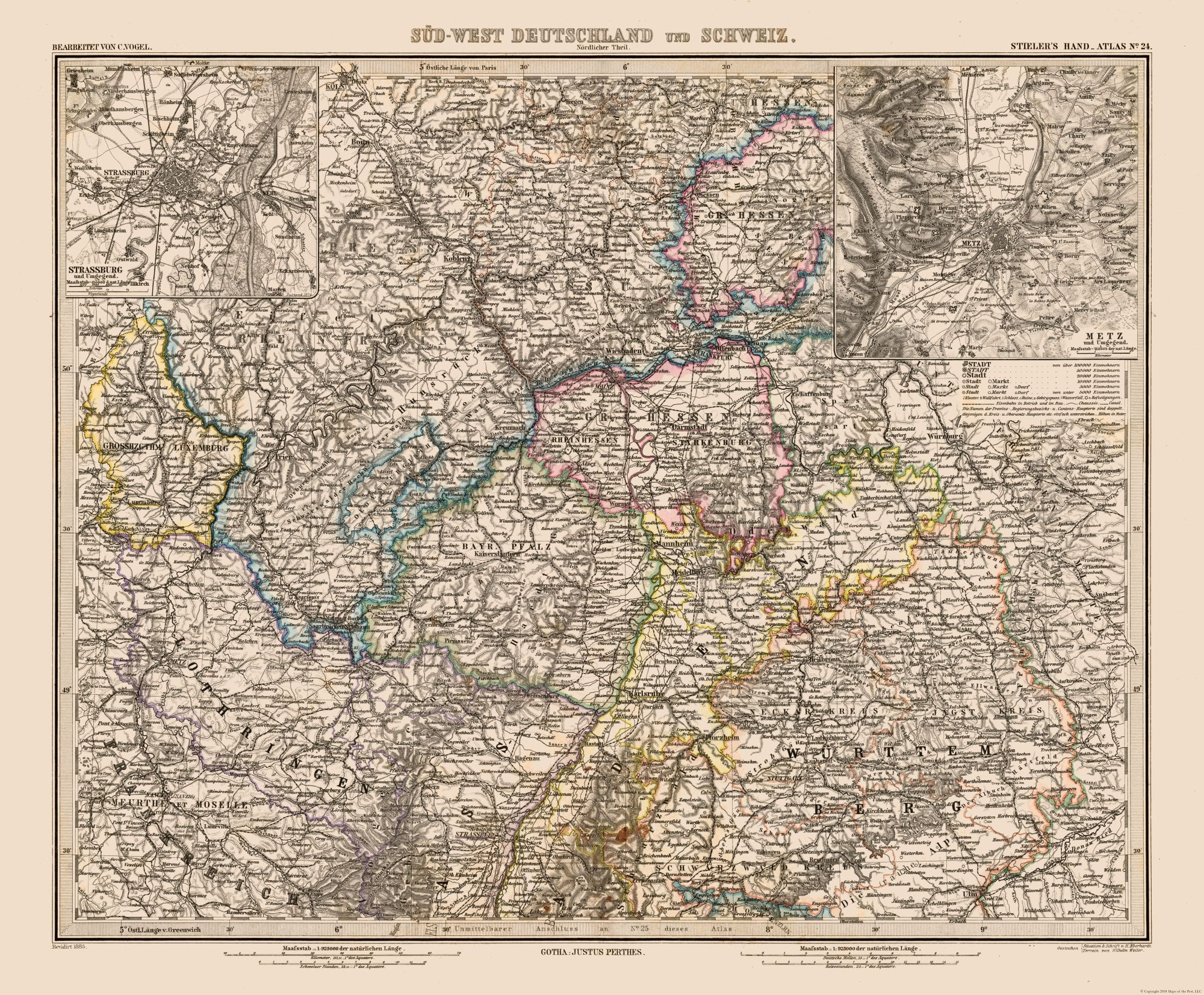 Old World Map - Sw Germany, Switzerland - Stielers 1885 - 27.82 X 23 within Old World Map Of Germany