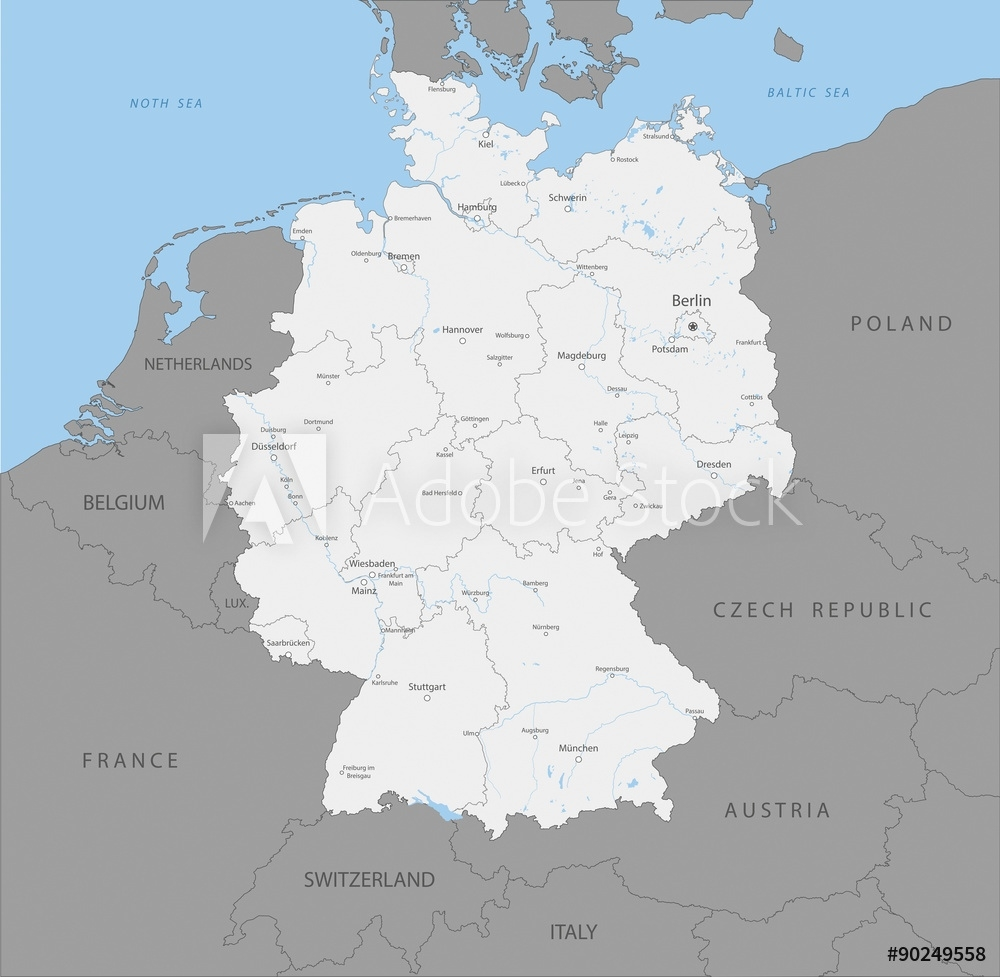 Photo & Art Print Highly Detailed Map Of Germany Regions, Vector throughout Map Of Germany To Print