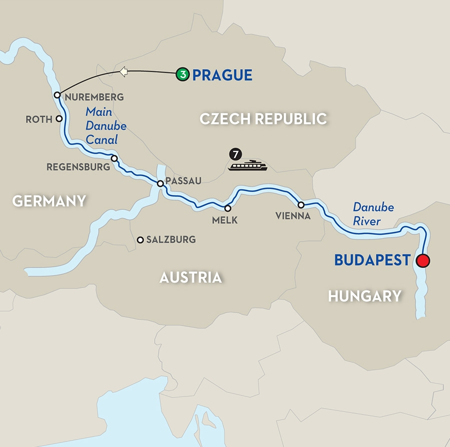 Pied Piper Travel : Danube River Cruise - Cruise Information within Map Of Danube River In Germany