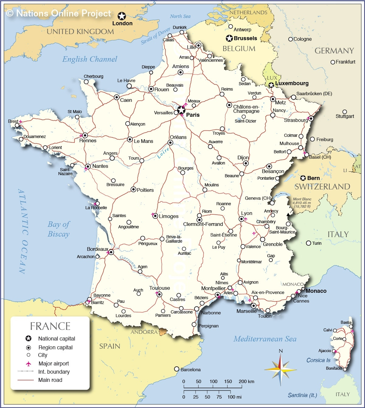 Political Map Of France - Nations Online Project inside Map Of France And Germany Border