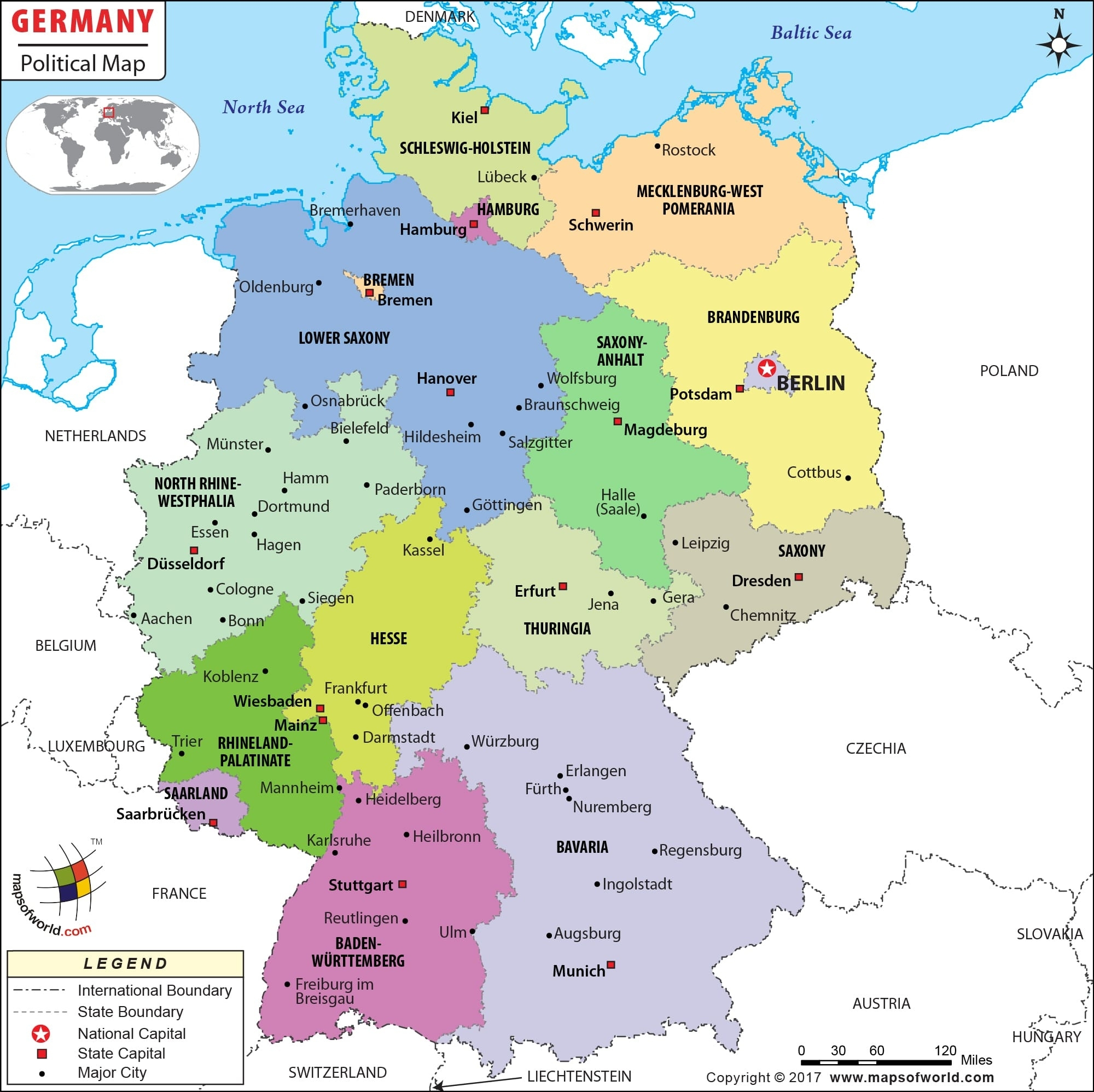 Political Map Of Germany   Germany States Map for Map Of Germany In German