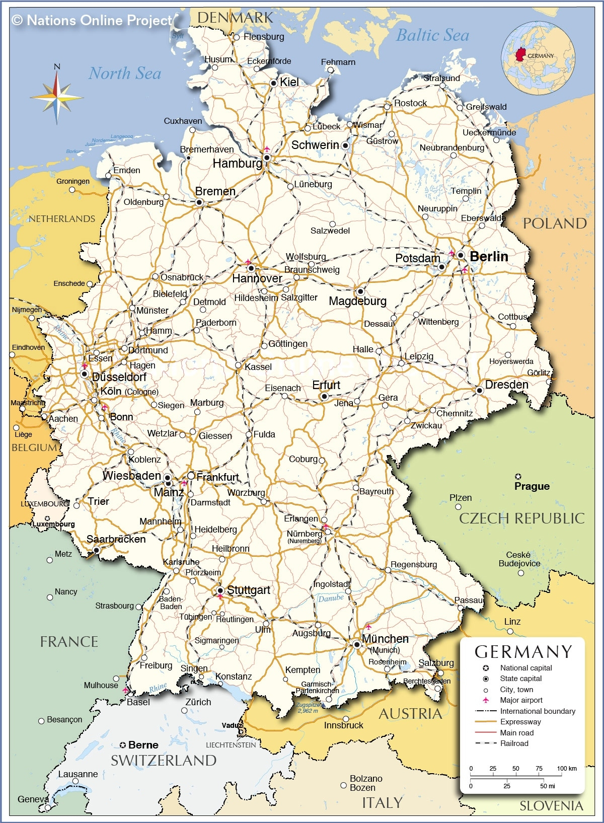 Political Map Of Germany - Nations Online Project inside Map Of Germany Airports And Cities