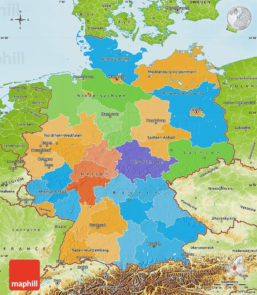Political Map Of Germany, Physical Outside pertaining to Germany On World Map Physical