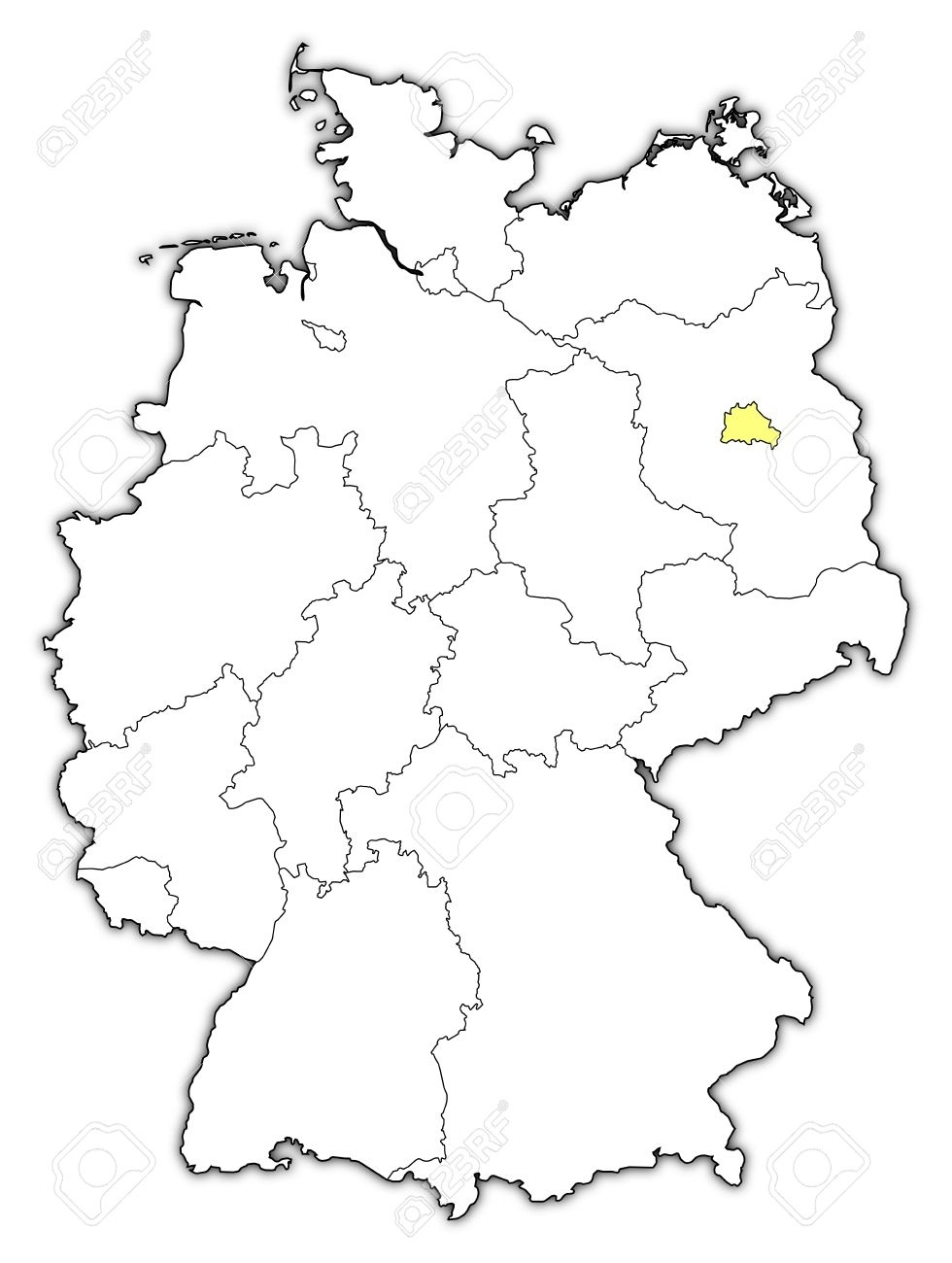 Political Map Of Germany With The Several States Where Berlin.. in Outline Map Of Germany With States