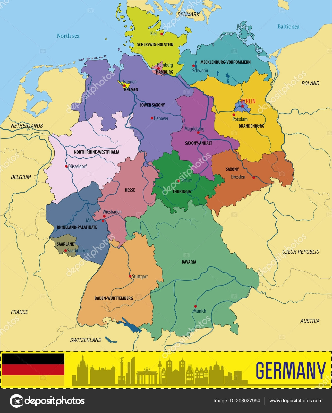 Political Vector Map Germany Regions Capitals All Layers Detachabel within Germany Regions Map