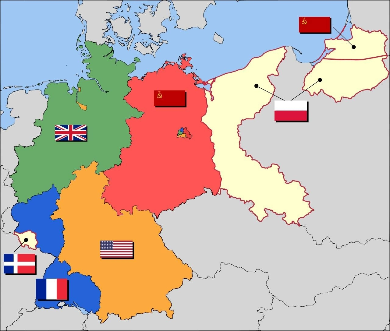 Post-Wwii Occupation Zones Of Germany. : Mapporn for Post Ww2 Germany Map