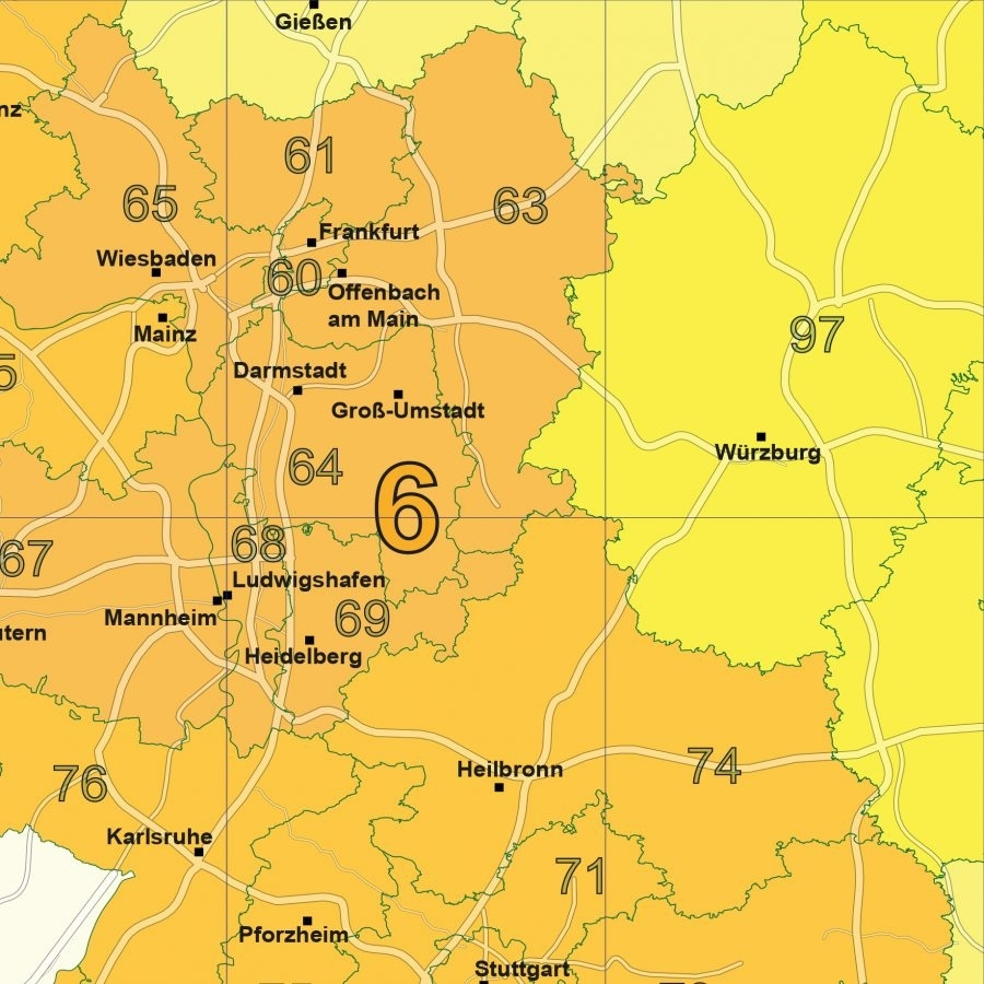 Postal Code Map Germany - Fully Layered; Down To Three Digits. throughout Giessen Germany Map