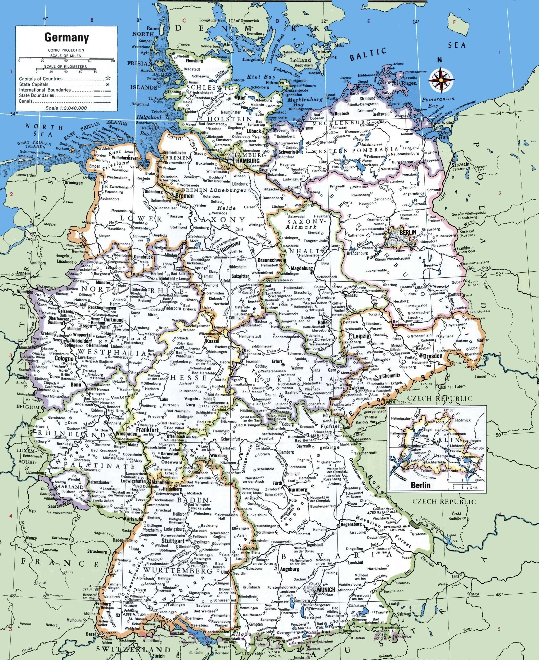Printable Map Of Germany With Cities And Towns | Printable Maps | A throughout Printable Map Of Germany And Surrounding Countries