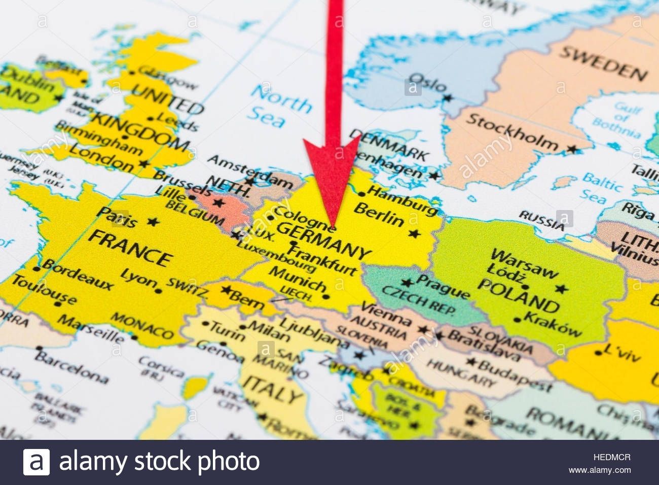 Red Arrow Pointing Germany On The Map Of Europe Continent Stock in Germany In Map Of Europe