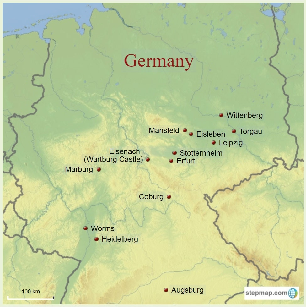 Reformationstag (Reformation Day) - Map Of Luther's Germany  Have in Eisenach Germany Map