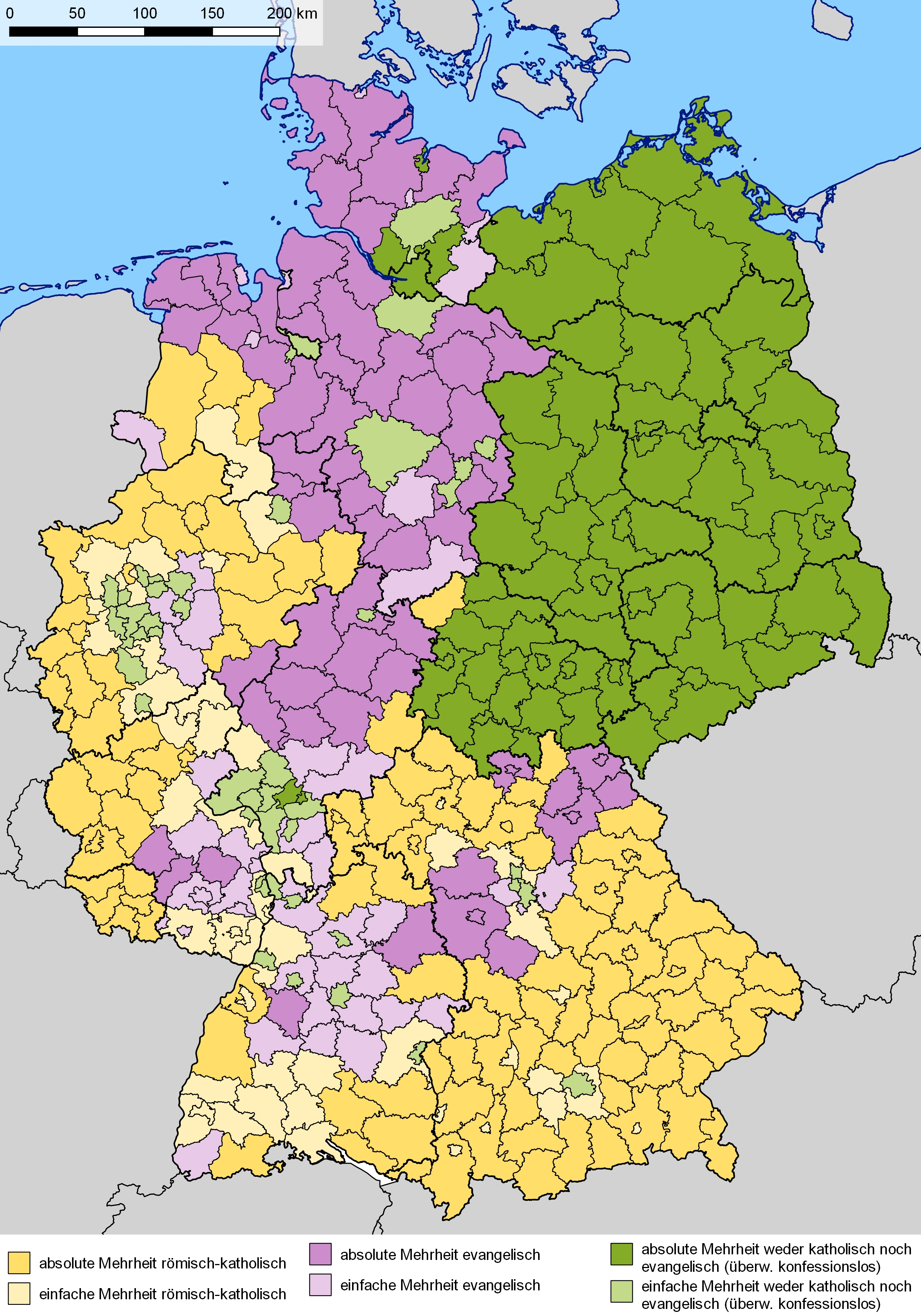 Religion In Germany - Wikipedia for Map Of Germany Divided After Ww2