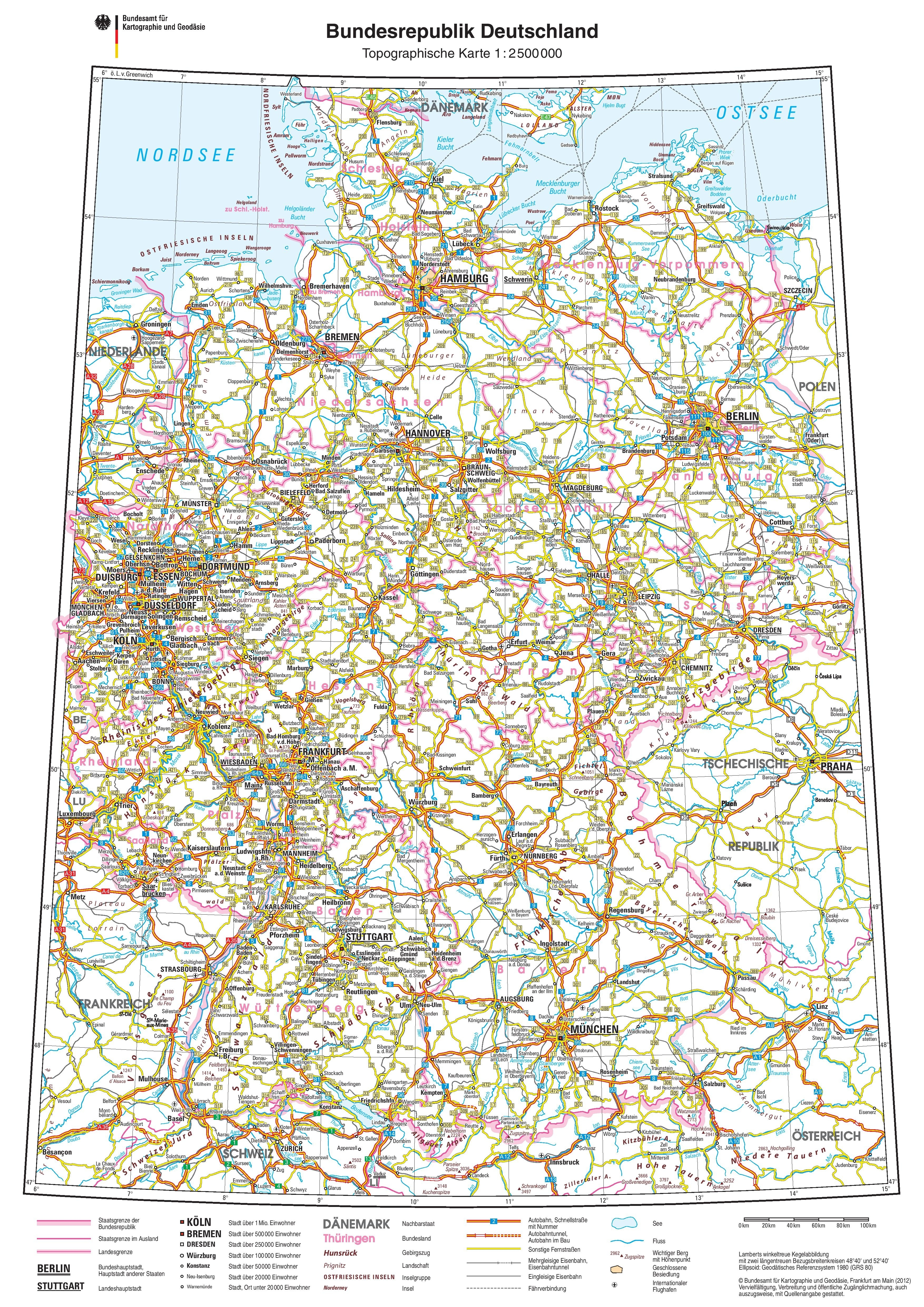Road Map Of Germany With Cities And Towns And Travel Information in Road Map Germany Free