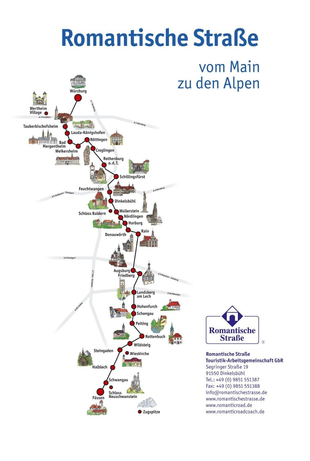 Romantic Road Map In Germany In 2019   Travel   Romantic Road intended for Romantic Road Germany Map