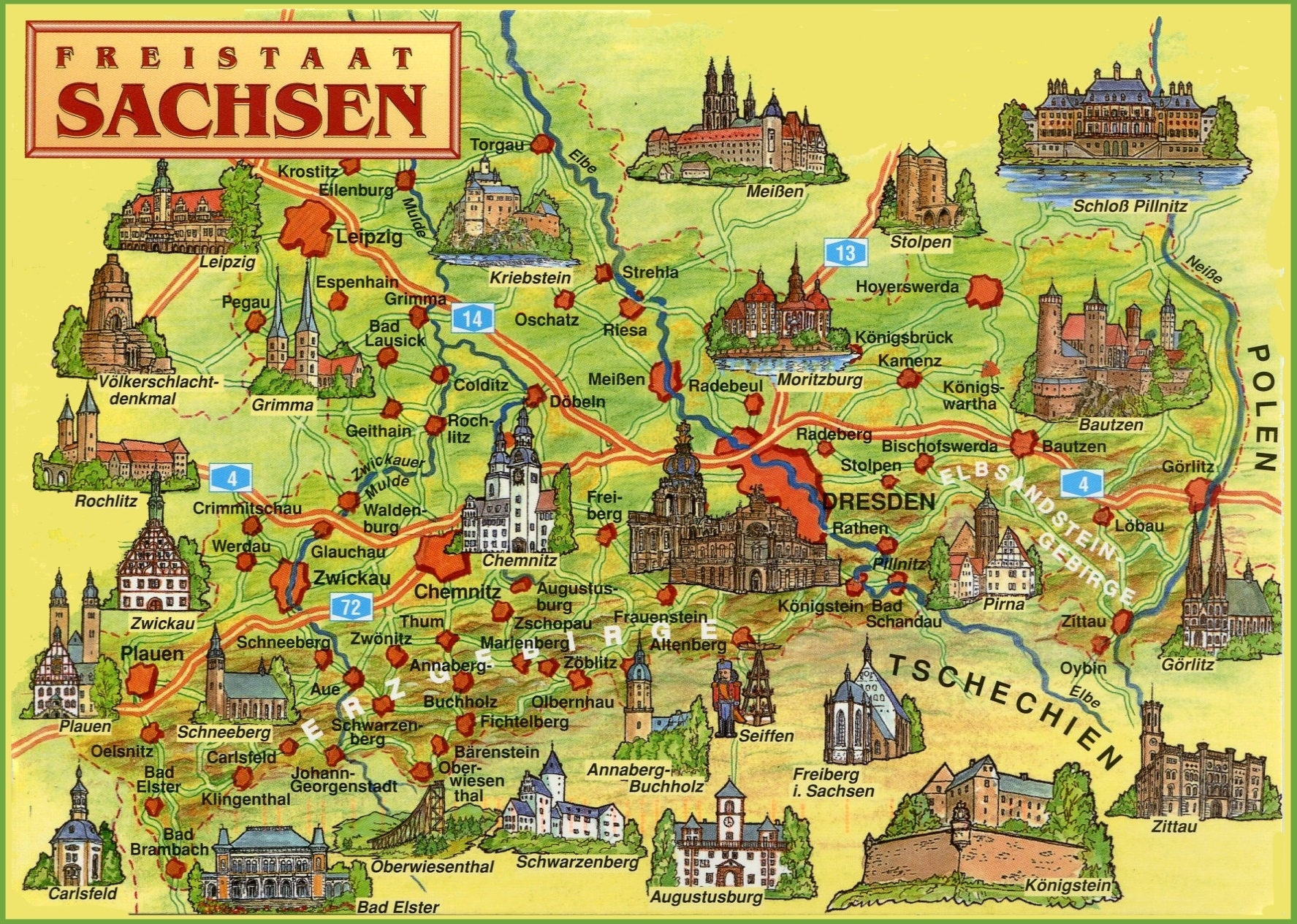 Saxony Tourist Map intended for Germany Map For Tourist