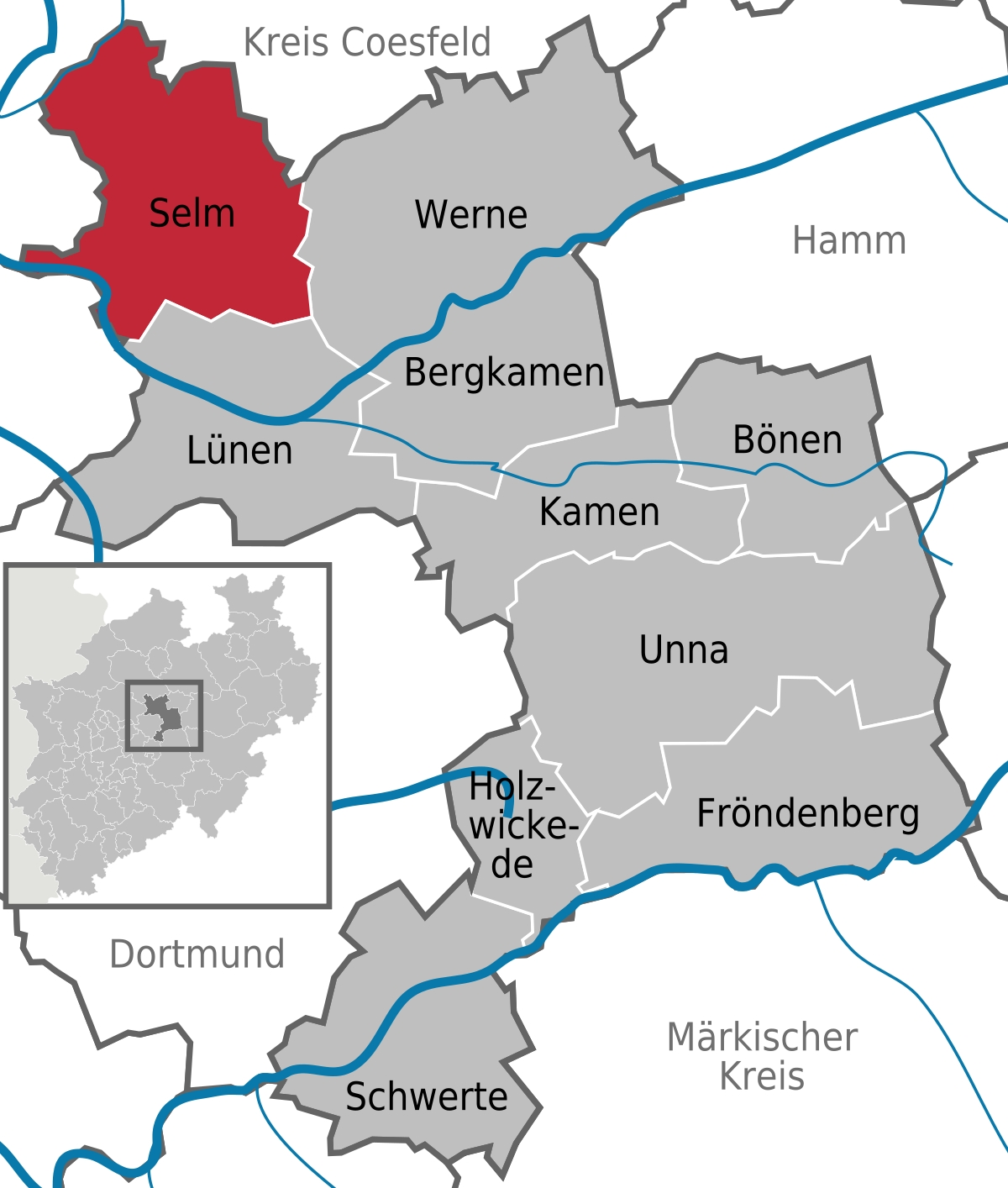 Selm - Wikipedia with Map Of Germany Showing Dortmund