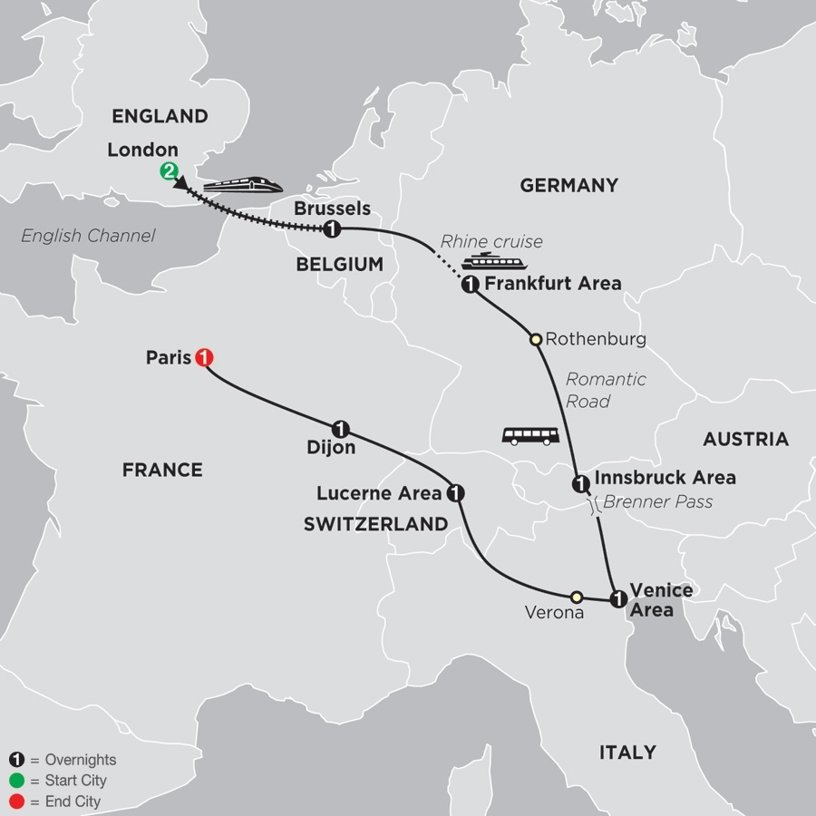 Seven Countries, Venice & Paris | Cosmos | Sedunia Travel within Map Of France Belgium And Germany