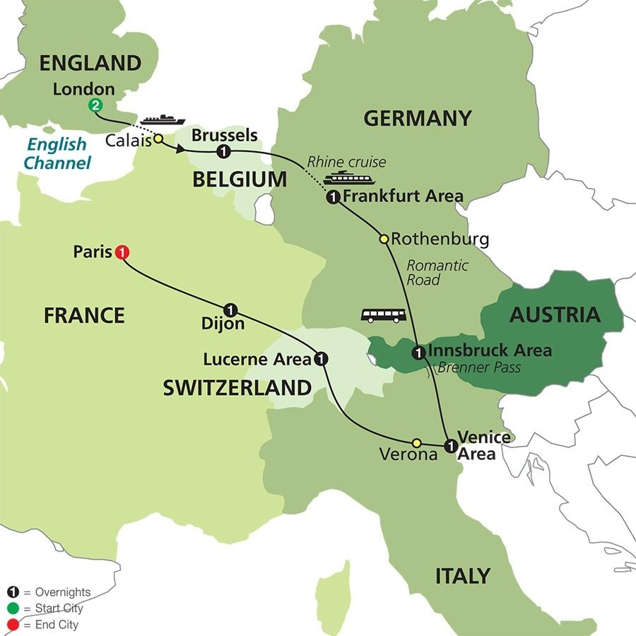 Seven Countries, Venice & Paris In 2019   Mike And Katie's Travel for Map Of France Germany Switzerland Austria And Italy