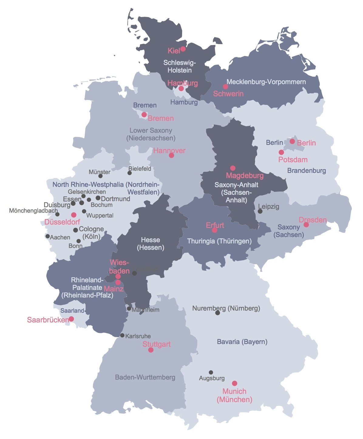 States Map Of Germany And Travel Information | Download Free States within German Map With States And Cities