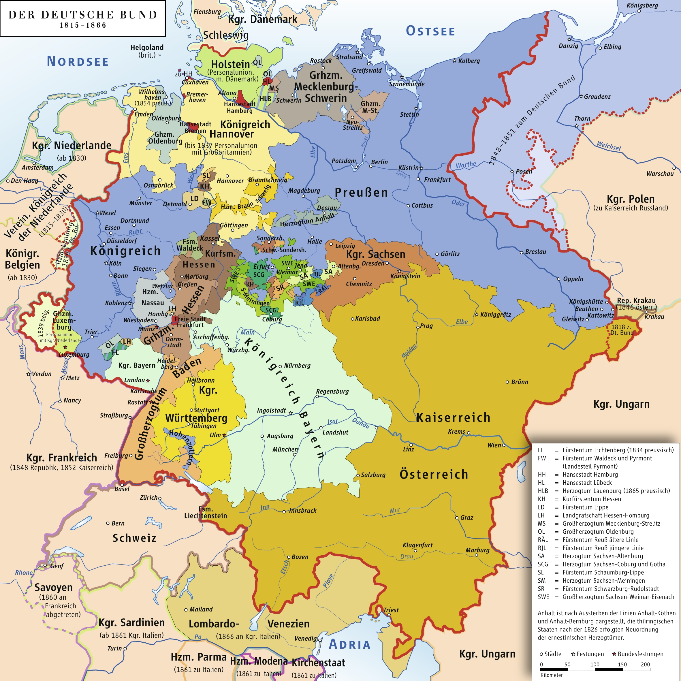 States Of The German Confederation Map 1815-1866 - Vgs German Sig inside German States Map