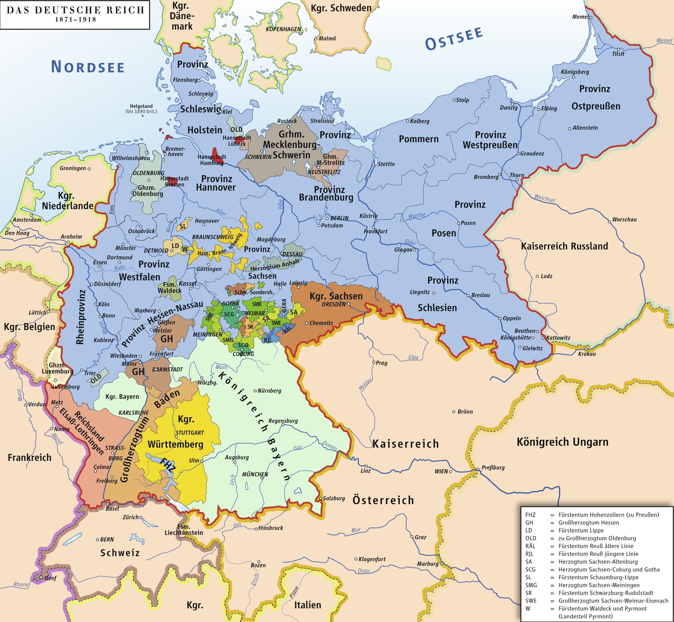 States Of The German Empire Map 1871-1918 - Vgs German Sig in Map Of Germany And Its States