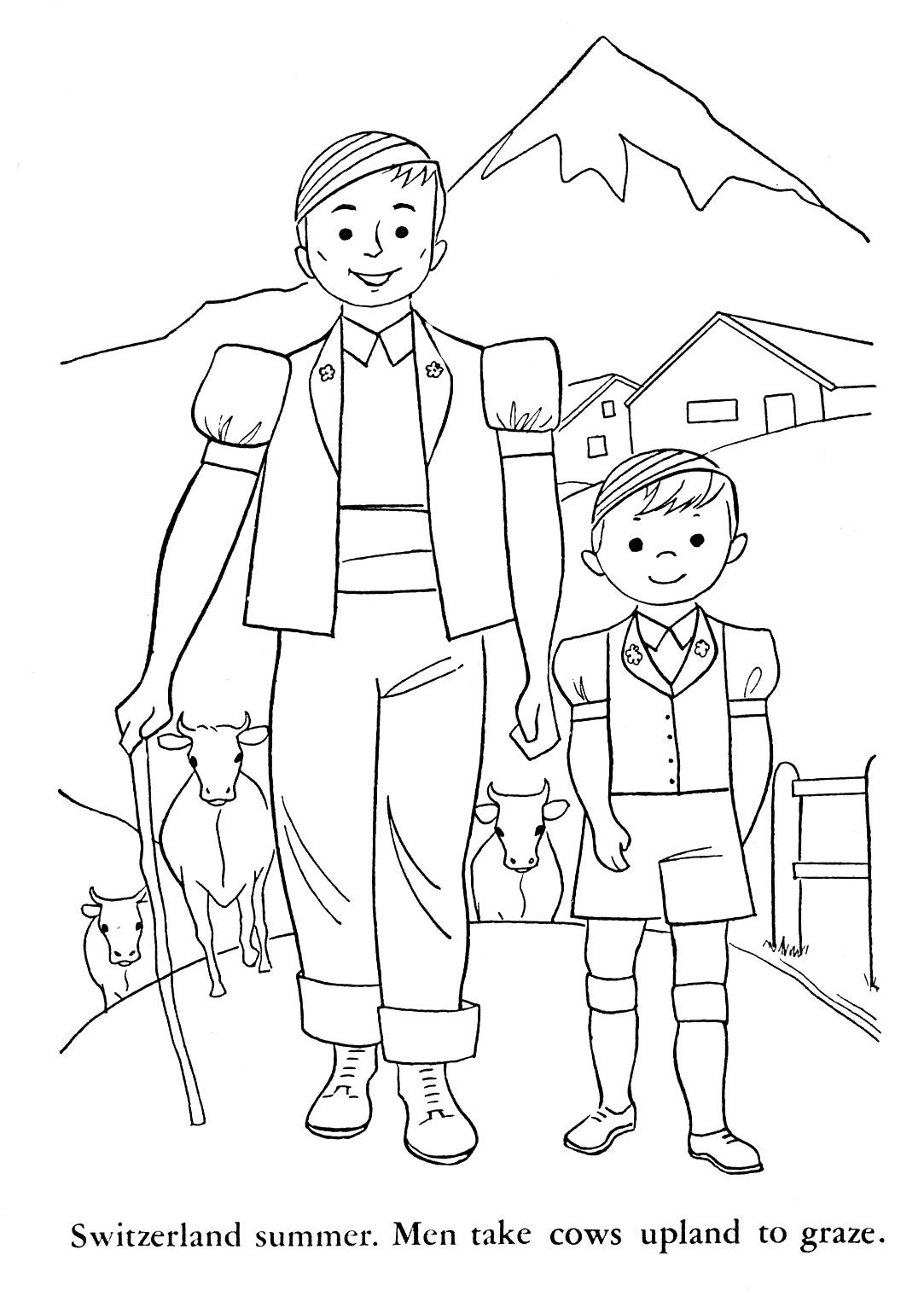 Switzerland Coloring Pages For Kids   Children Of Other Lands, 1954 within Germany Map Coloring Page
