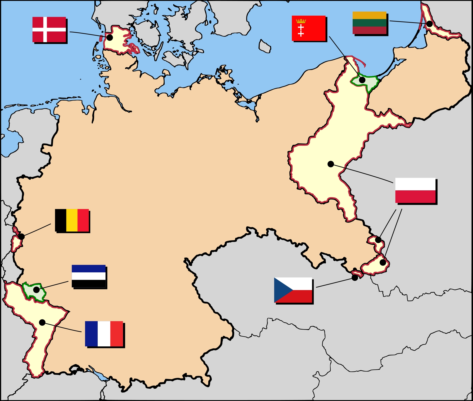 Territorial Evolution Of Germany - Wikipedia for Map Of Germany Divided After Ww2