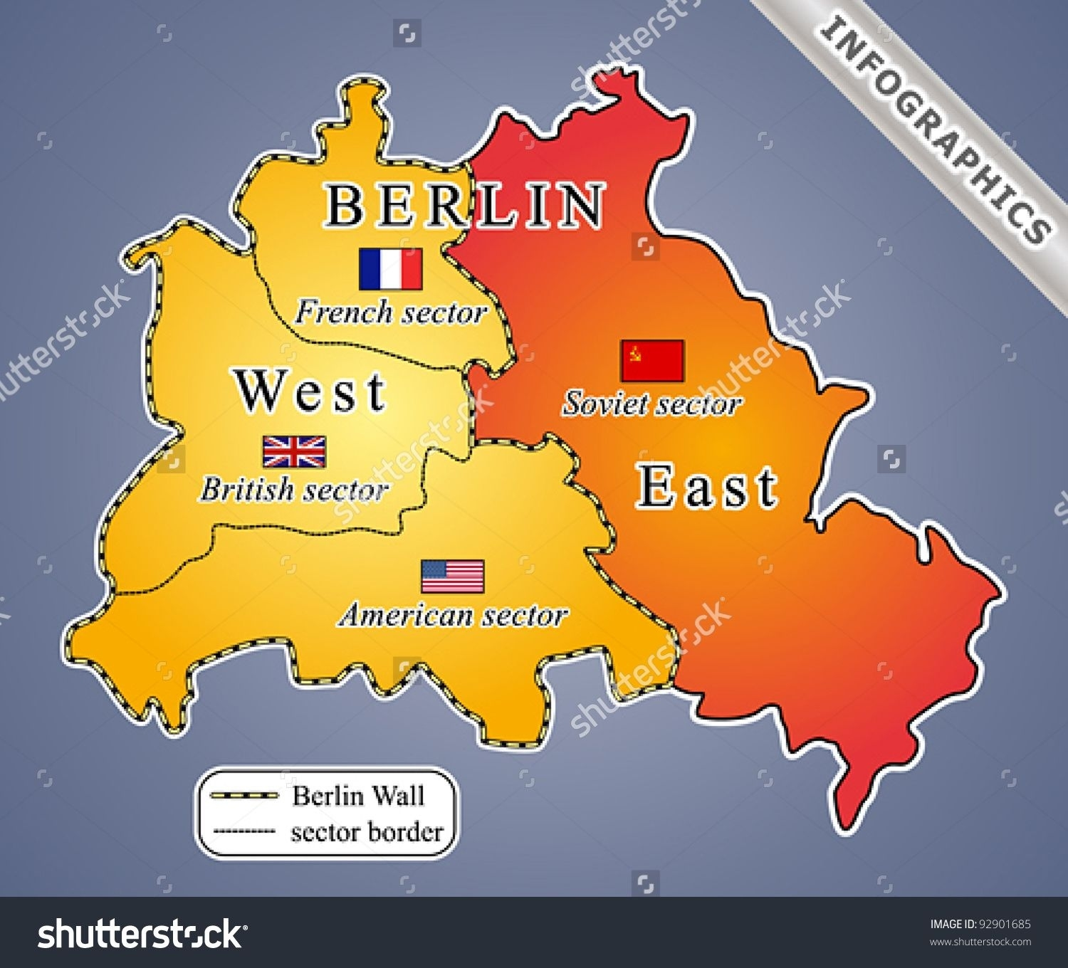 The Berlin Wall Was Built In The Wake Of World War Ii, Dividing for Berlin East Germany Map