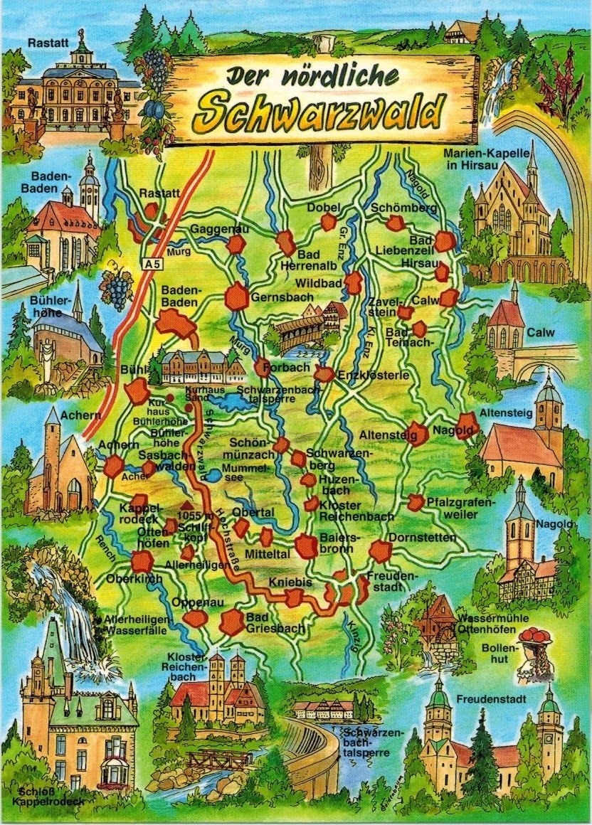 The Black Forest Is A Wooded Mountain Range In Baden-Württemberg within Black Forest Germany Map