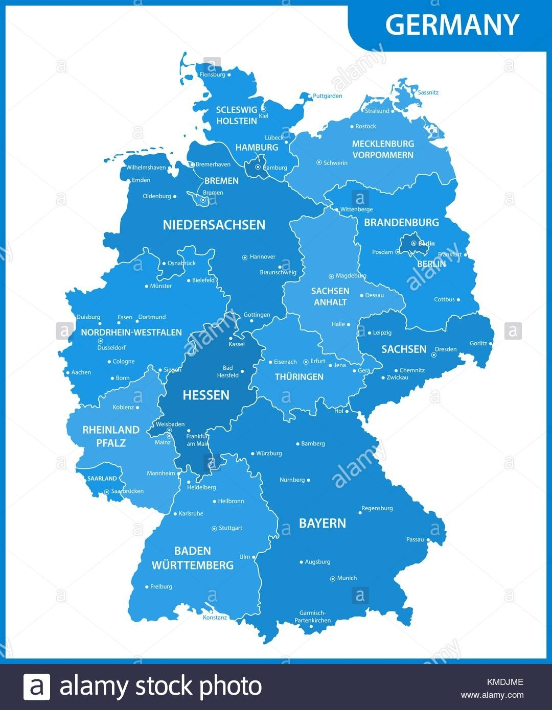 The Detailed Map Of The Germany With Regions Or States And Cities regarding Map Of Germany With States And Capitals In German