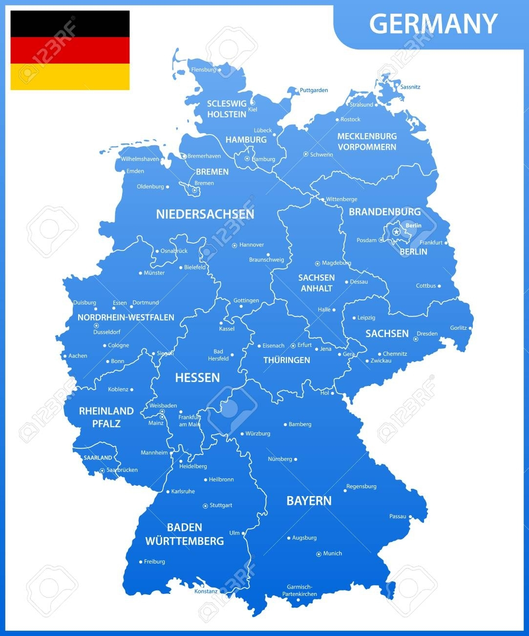 The Detailed Map Of The Germany With Regions Or States And Cities,.. throughout Eisenach Germany Map