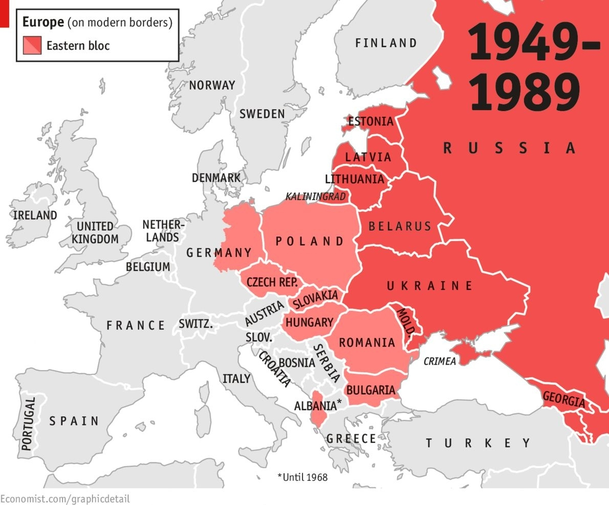 The East Bloc '46-'89   The Cold War   Map, Cold War, Historical Maps throughout Map Of East Germany During Cold War