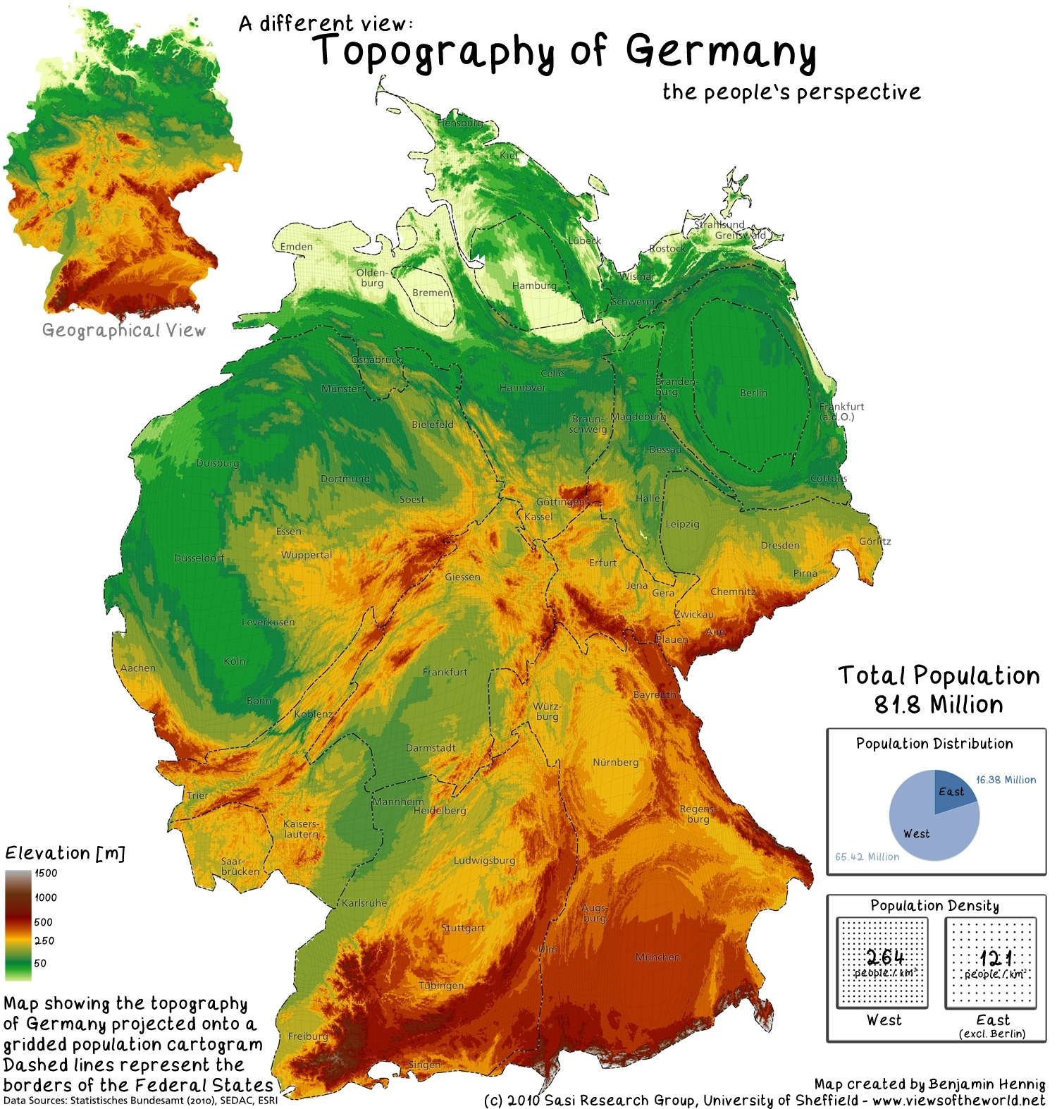 The Population Of Germany - Views Of The World with Mountains In Germany Map