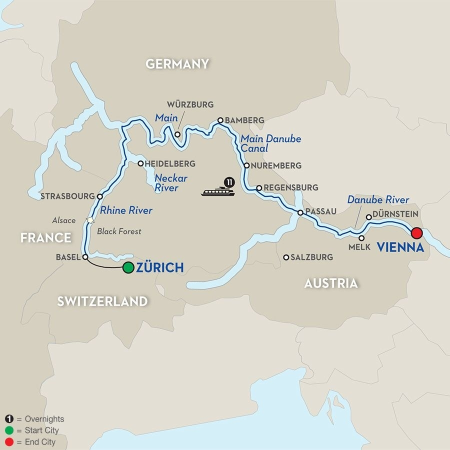 The Upper Rhine To The City Of Music | Germany. | Avalon Waterways regarding Map Of Danube River In Germany