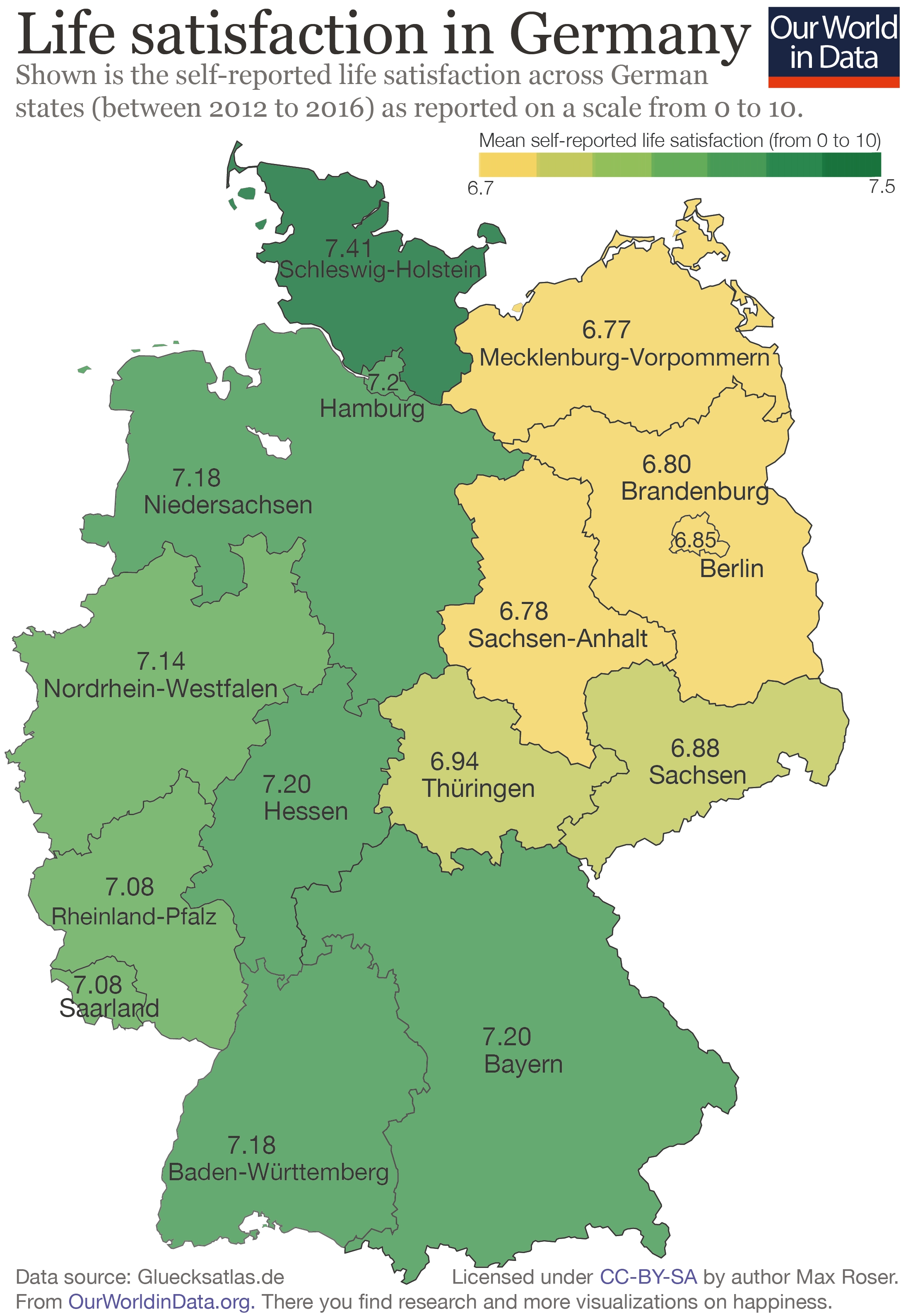 There Is A 'happiness Gap' Between East And West Germany - Our World for Former East Germany Map