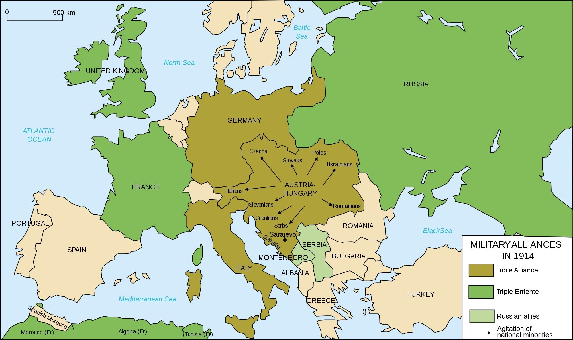 This Map Shows The Alliances In World War 1. The Central Power in Show Germany In World Map