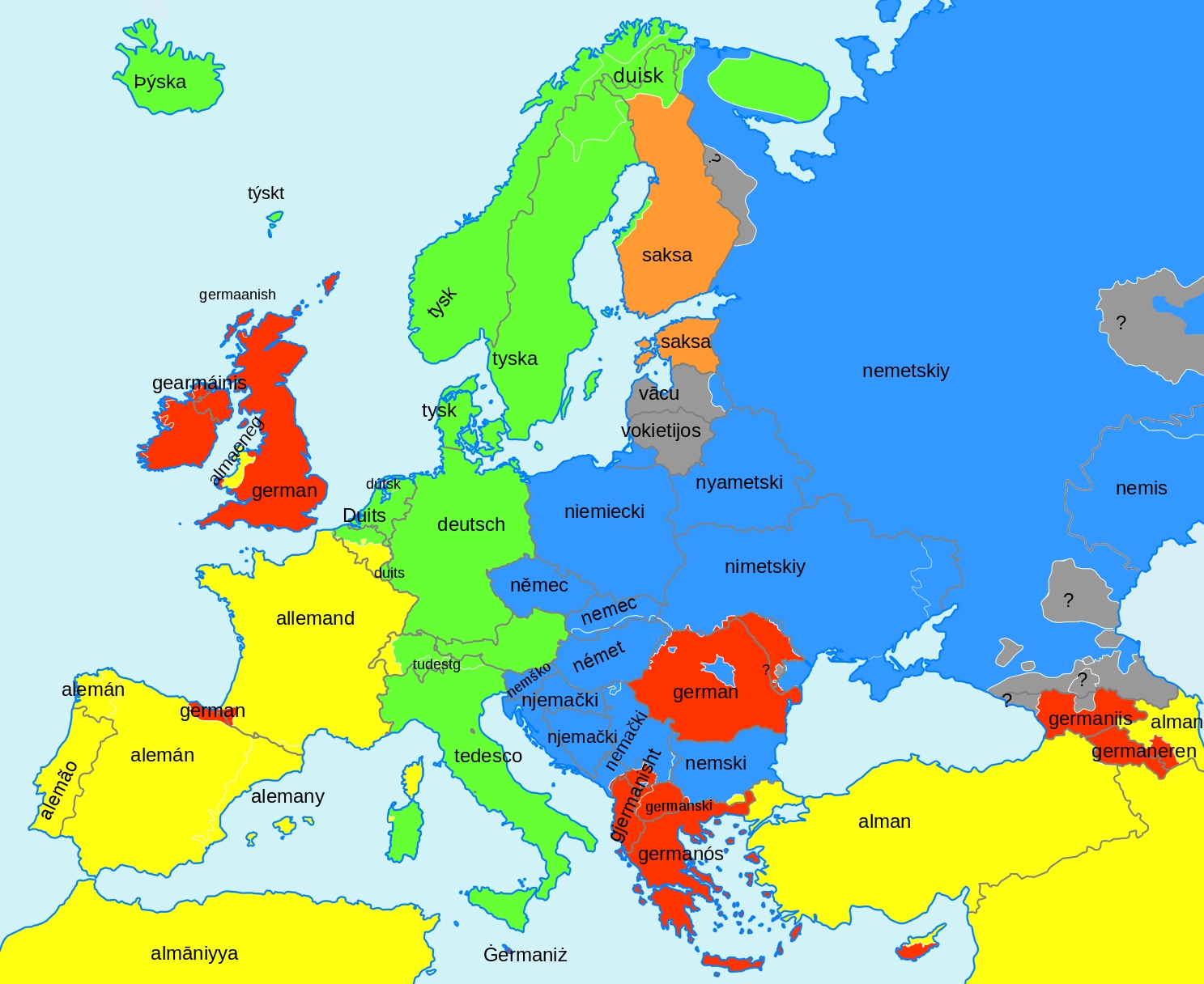 Tool To Create Word Maps (Europe Template) : Linguistics pertaining to Map Of Europe In German Language