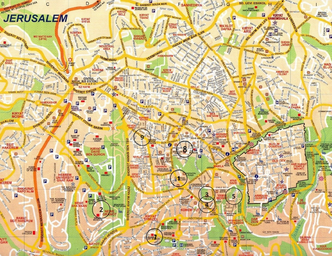 Top Cultural Sites In Jerusalem - Afipo with regard to German Colony Jerusalem Map