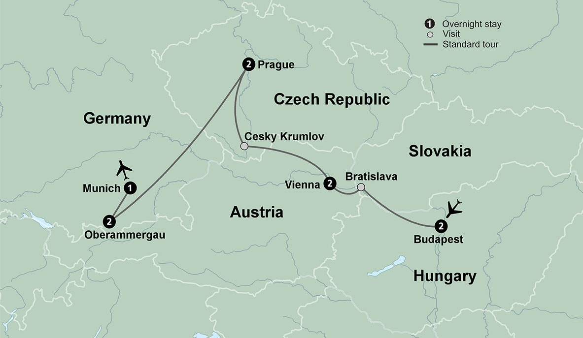 Trip To Central Europe With Oberammergau Passion Play inside Map Of Germany Austria Czech Republic And Hungary