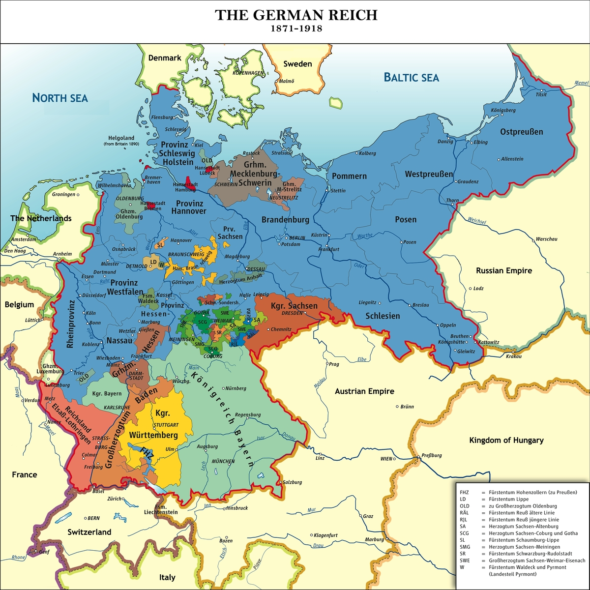 Unification Of Germany   Schoolshistory.uk with regard to Map Of German States Before Unification