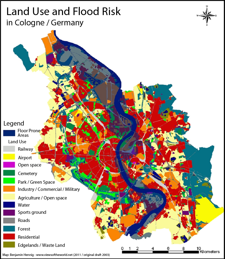 Urban Development In The City Of Cologne (Köln) - Views Of The World pertaining to Germany Land Use Map