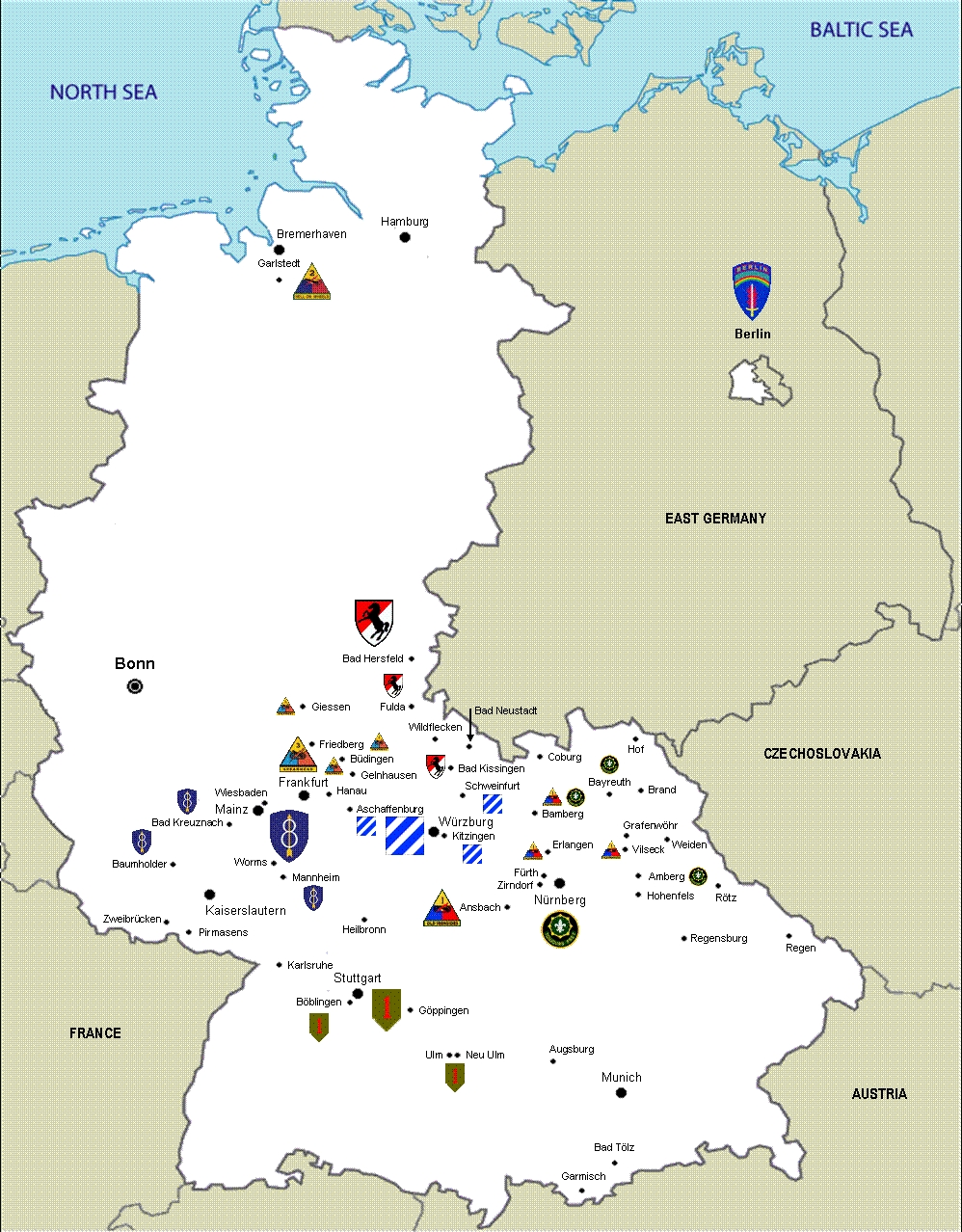 Us Army Units In West Germany, 1987   U. S. Army - 9Th Ordnance within British Army Bases In Germany Map